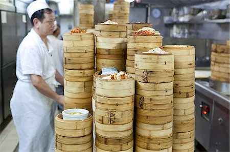 piles of work - Dim sum preparation in a restaurant kitchen in Hong Kong, China, Asia Stock Photo - Rights-Managed, Code: 841-06031304