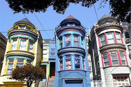 Colourfully painted Victorian houses in the Haight-Ashbury district of San Francisco, California, United States of America, North America Stock Photo - Rights-Managed, Code: 841-06031336