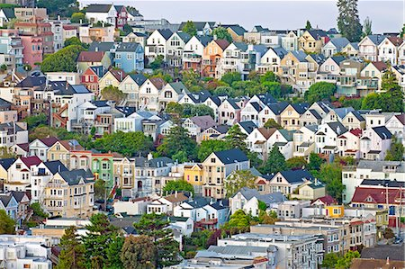 Typical Victorian houses in San Francisco, California, United States of America, North America Stock Photo - Rights-Managed, Code: 841-06031332