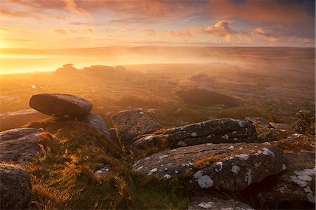 dartmoor national park - Sunrise over a misty moor viewed from Littaford Tor, Dartmoor, Devon, England, United Kingdom, Europe Stock Photo - Rights-Managed, Code: 841-06031546