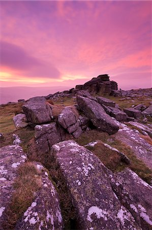 dartmoor national park - Intense fiery dawn sky above Belstone Tor, Dartmoor, Devon, England, United Kingdom, Europe Stock Photo - Rights-Managed, Code: 841-06031594