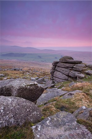dartmoor national park - View towards High Willhays from Belstone Tor at sunrise, Dartmoor, Devon, England, United Kingdom, Europe Stock Photo - Rights-Managed, Code: 841-06031595