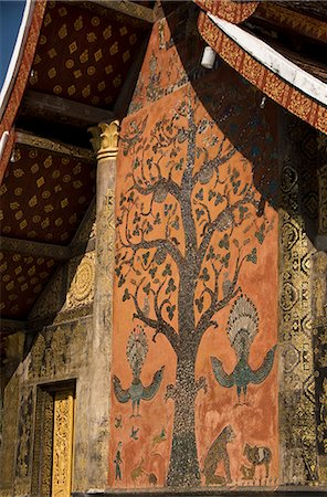 Flame tree mosaic on back wall, main temple, Wat Xieng Thong, UNESCO World Heritage Site, Luang Prabang, Laos, Indochina, Southeast Asia, Asia Stock Photo - Rights-Managed, Code: 841-06031633