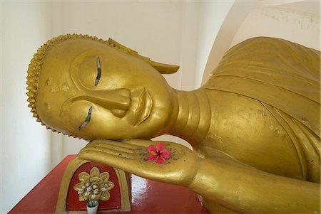 Reclining Buddha, Wat Para Bat Tai, Luang Prabang, Laos, Indochina, Southeast Asia, Asia Stock Photo - Rights-Managed, Code: 841-06031646