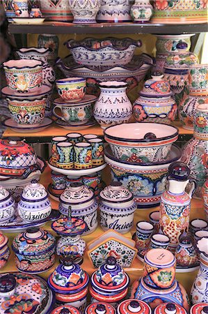 Talavera Pottery, El Parian Market, Puebla, Historic Center, Puebla State, Mexico, North America Stock Photo - Rights-Managed, Code: 841-06031811