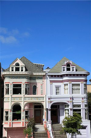 Victorian architecture, Painted Ladies, Alamo Square, San Francisco, California, United States of America, North America Stock Photo - Rights-Managed, Code: 841-06031845