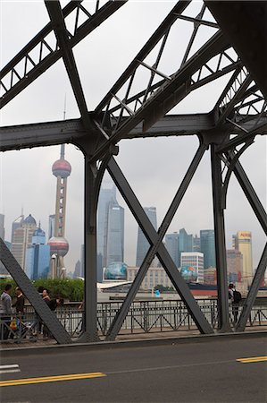 Waibaidu Bridge, formerly the Garden Bridge, the only steel bridge of its type in China, spanning Suzhou Creek at its confluence with the Huangpu River, Shanghai, China, Asia Stock Photo - Rights-Managed, Code: 841-06032029