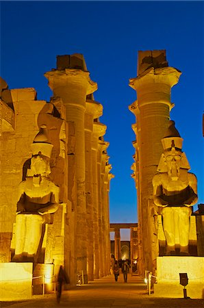 egypt - Great Court of Ramesses II and colossal statues of Ramesses II, Temple of Luxor, Thebes, UNESCO World Heritage Site, Egypt, North Africa, Africa Stock Photo - Rights-Managed, Code: 841-06032848