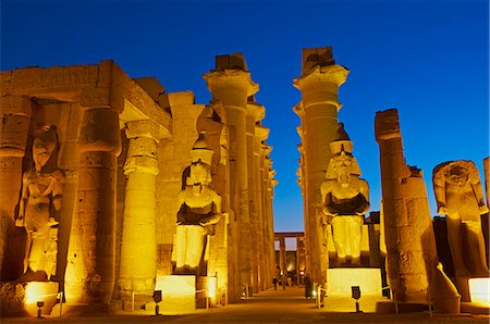 Great Court of Ramesses II and colossal statues of Ramesses II, Temple of Luxor, Thebes, UNESCO World Heritage Site, Egypt, North Africa, Africa Stock Photo - Rights-Managed, Code: 841-06032849