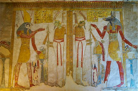egypt - Bas-relief painted on the walls of the royal tomb, Setnakht tomb, Valley of the Kings, Thebes, UNESCO World Heritage Site, Egypt, North Africa, Africa Stock Photo - Rights-Managed, Code: 841-06032914