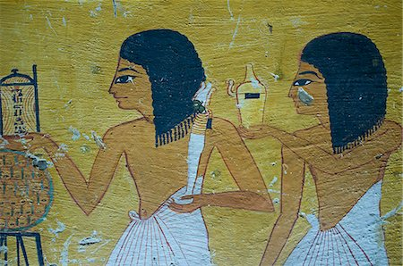 Wall paintings, Tombs of Nobles, West Bank of the River Nile, Thebes, UNESCO World Heritage Site, Egypt, North Africa, Africa Stock Photo - Rights-Managed, Code: 841-06032918