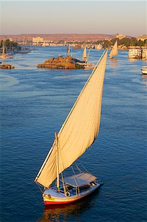 egypt - Feluccas on the River Nile, Aswan, Egypt, North Africa, Africa Stock Photo - Rights-Managed, Code: 841-06032928