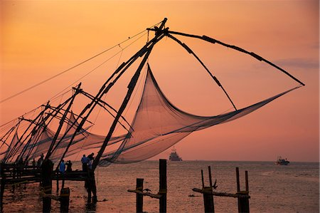 Chinese fishing nets, Cochin, Kerala, India, Asia Stock Photo - Rights-Managed, Code: 841-06032951