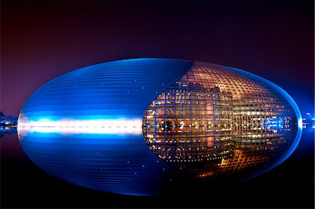 National Centre for the Performing Arts, egg shape reflection, illuminated during National Day Festival, Beijing, China, Asia Stock Photo - Rights-Managed, Code: 841-06033101