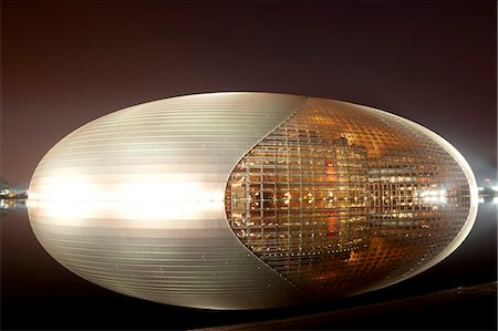 National Centre for the Performing Arts, egg shape reflection, illuminated during National Day Festival, Beijing, China, Asia Stock Photo - Rights-Managed, Code: 841-06033102