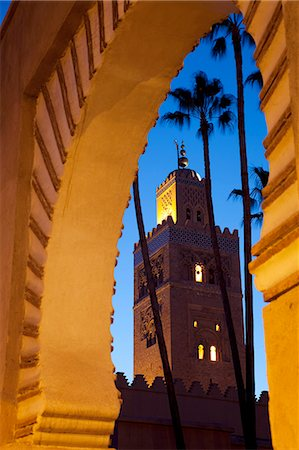 Minaret of the Koutoubia Mosque at dusk, Marrakesh, Morocco, North Africa, Africa Stock Photo - Rights-Managed, Code: 841-06033160