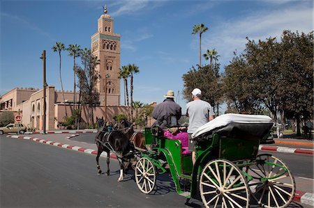 Koutoubia Mosque Minaret and horse-drawn carriage, Marrakesh, Morocco, North Africa, Africa Stock Photo - Rights-Managed, Code: 841-06033163