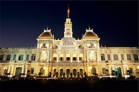 Hotel de Ville (Ho Chi Minh City Hall) at night, Ho Chi Minh City (Saigon), Vietnam, Indochina, Southeast Asia, Asia Stock Photo - Rights-Managed, Code: 841-06033265