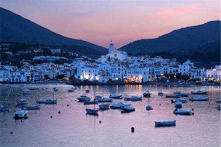 Harbour at dusk, Cadaques, Costa Brava, Catalonia, Spain, Mediterranean, Europe Stock Photo - Rights-Managed, Code: 841-06033697