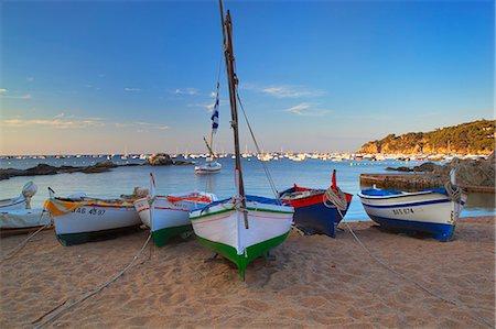 europe - Fishing boats at dawn, Calella de Palafrugell, Costa Brava, Catalonia, Spain, Mediterranean, Europe Stock Photo - Rights-Managed, Code: 841-06033701