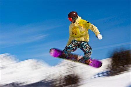 sports and snowboarding - Snowboarder flying off a ramp, Whistler Mountain, Whistler Blackcomb Ski Resort, Whistler, British Columbia, Canada, North America Stock Photo - Rights-Managed, Code: 841-06344134