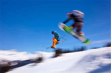 sports and snowboarding - Snowboarder flying off a ramp, Whistler Mountain, Whistler Blackcomb Ski Resort, Whistler, British Columbia, Canada, North America Stock Photo - Rights-Managed, Code: 841-06344150