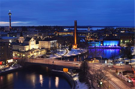 River Tammerkoski runs through the city centre, past the Finlayson Complex, night time in Tampere, Pirkanmaa, Finland, Scandinavia, Europe Stock Photo - Rights-Managed, Code: 841-06344196