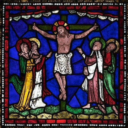 Medieval stained glass of The Crucifixion, Corona Redemption Window, East End, Corona I, Canterbury Cathedral, UNESCO World Heritage Site, Canterbury, Kent, England, United Kingdom, Europe Stock Photo - Rights-Managed, Code: 841-06344321