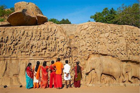 Arjuna's Penance granite carvings, Mamallapuram (Mahabalipuram), UNESCO World Heritage Site, Tamil Nadu, India, Asia Stock Photo - Rights-Managed, Code: 841-06344601