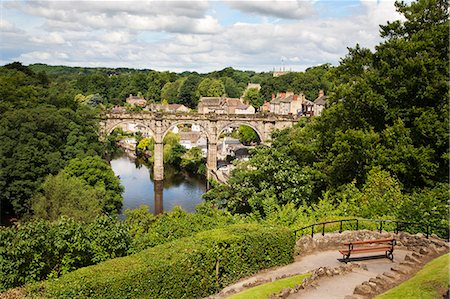 Castle Grounds Viewpoint looking toward Knaresborough Viaduct and River Nidd, Knaresborough, North Yorkshire, Yorkshire, England, United Kingdom, Europe Stock Photo - Rights-Managed, Code: 841-06345136
