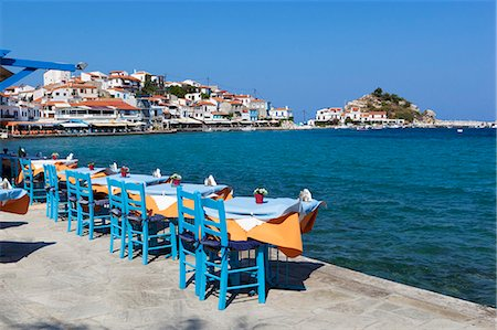 Restaurants on harbour, Kokkari, Samos, Aegean Islands, Greece Stock Photo - Rights-Managed, Code: 841-06345167