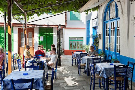 Greek taverna in centre of mountain village, Vourliotes, Samos, Aegean Islands, Greece Stock Photo - Rights-Managed, Code: 841-06345191