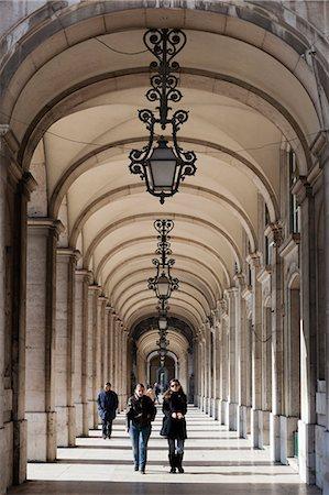 Arcade on Praca do Comercio, Baixa, Lisbon, Portugal, Europe Stock Photo - Rights-Managed, Code: 841-06345275