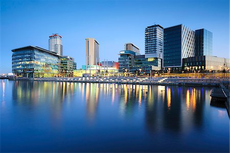 Dawn at MediaCity UK home of the BBC, Salford Quays, Manchester, Greater Manchester, England, United Kingdom, Europe Stock Photo - Rights-Managed, Code: 841-06345347