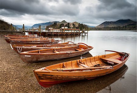 Keswick launch boats, Derwent Water, Lake District National Park, Cumbria, England Stock Photo - Rights-Managed, Code: 841-06345355