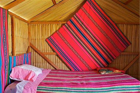 peru and culture - Bedroom, Uros Island, Islas Flotantes, floating islands, Lake Titicaca, peru, peruvian, south america, south american, latin america, latin american South America Stock Photo - Rights-Managed, Code: 841-06345455