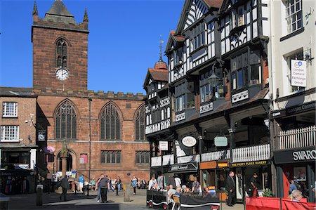 Bridge Street restaurants, Chester, Cheshire, England, United Kingdom, Europe Stock Photo - Rights-Managed, Code: 841-06341441