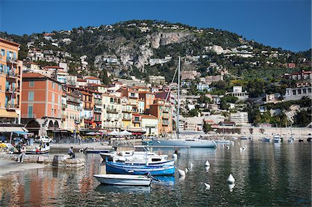 france - Colourful buildings along waterfront, Villefranche, Alpes-Maritimes, Provence-Alpes-Cote d'Azur, French Riviera, France, Mediterranean, Europe Stock Photo - Rights-Managed, Code: 841-06341476