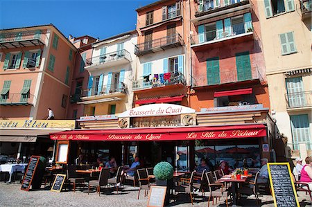 france - Facade of restaurants along waterfront, Villefranche, Alpes-Maritimes, Provence-Alpes-Cote d'Azur, French Riviera, France, Europe Stock Photo - Rights-Managed, Code: 841-06341479