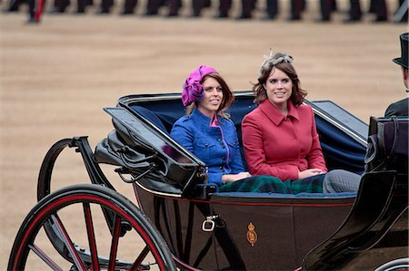 Princess Beatrice and Princess Eugenie of York, Trooping the Colour 2012, The Quuen's Birthday Parade, Whitehall, Horse Guards, London, England, United Kingdom, Europe Stock Photo - Rights-Managed, Code: 841-06341542