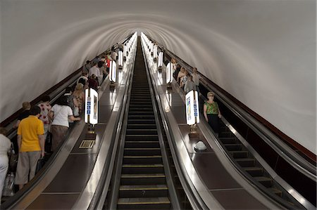 Metro escalator, Kiev, Ukraine, Europe Stock Photo - Rights-Managed, Code: 841-06341916