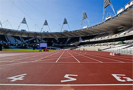 race track (people) - The start line of the 100m inside The Olympic Stadium, London, England, United Kingdom, Europe Stock Photo - Rights-Managed, Code: 841-06342080