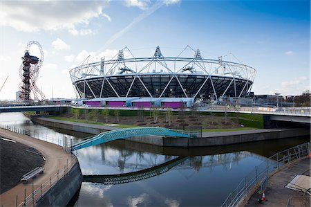 The Olympic Stadium with The Arcelor Mittal Orbit and the River Lee, London, England, United Kingdom, Europe Stock Photo - Rights-Managed, Code: 841-06342083