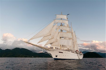 ships at sea - Star Clipper sailing cruise ship, Dominica, West Indies, Caribbean, Central America Stock Photo - Rights-Managed, Code: 841-06342326