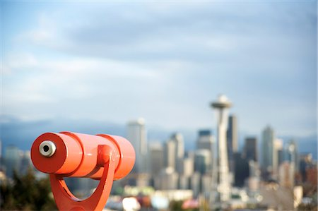 Telescope with view of Seattle skyline in distance, Kerry Park, Seattle, Washington State, United States of America, North America Stock Photo - Rights-Managed, Code: 841-06342401