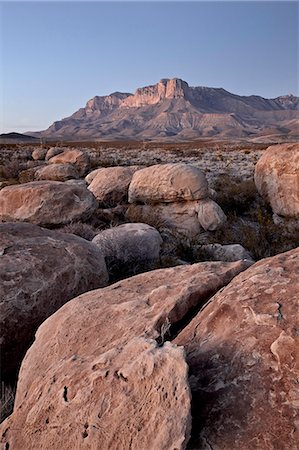 Guadalupe Peak and El Capitan at dusk, Guadalupe Mountains National Park, Texas, United States of America, North America Stock Photo - Rights-Managed, Code: 841-06342659