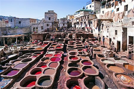 dyed - Chouwara traditional leather tannery in Old Fez, vats for tanning and dyeing leather hides and skins, Fez, Morocco, North Africa, Africa Stock Photo - Rights-Managed, Code: 841-06343118