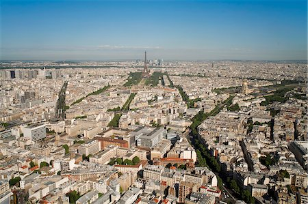 View of city with the Eiffel Tower in distance, from the Tour Montparnasse, Paris, France, Europe Stock Photo - Rights-Managed, Code: 841-06343139