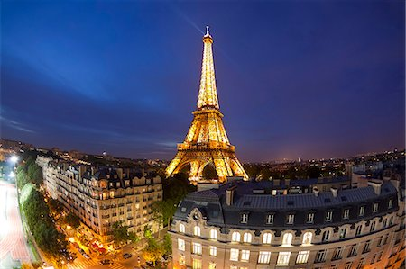 paris - Eiffel Tower, viewed over rooftops, Paris, France, Europe Stock Photo - Rights-Managed, Code: 841-06343133