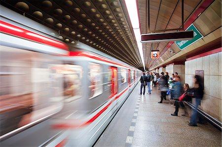 platform - Futuristic underground Metro station decoration in Prague, Czech Republic, Europe Stock Photo - Rights-Managed, Code: 841-06343160